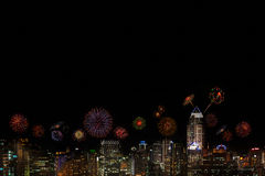 2015 New Year Fireworks celebrating over city at night. 2015 New Year Fireworks celebrating over city at night Royalty Free Stock Photography