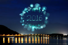 2016 New Year Fireworks celebrating over Lake Kawaguchiko Royalty Free Stock Photo