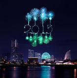2015 New Year Fireworks celebrating over marina bay in Yokohama. City, Japan Vector Illustration