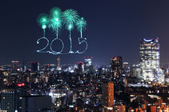2015 New Year Fireworks celebrating over Tokyo cityscape. At night, Japan Stock Images