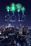 2015 New Year Fireworks celebrating over Tokyo cityscape Royalty Free Stock Photos