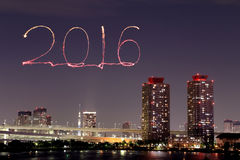 2016 New Year Fireworks celebrating over Tokyo cityscape Royalty Free Stock Photos