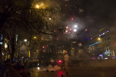 2015 New Year fireworks and celebrations at the Wenceslas square, Prague Stock Photography