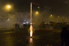 2015 New Year fireworks and celebrations at the Wenceslas square, Prague Stock Photo