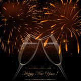 New Year fireworks and champagne glasses. Background with fireworks Stock Photos