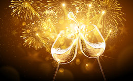 New Year fireworks and champagne. Glasses. Vector Royalty Free Stock Photos