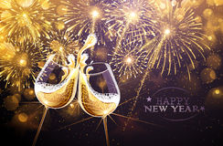 New Year fireworks and champagne. Glasses. Vector Stock Photography