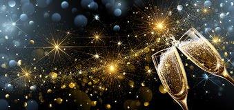 New Year fireworks and champagne. Glasses. Vector Stock Image