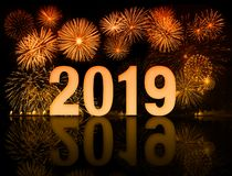 New year 2019 fireworks with clock face stock photos