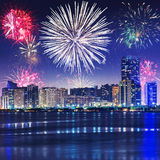 New Year fireworks display in Abu Dhabi Royalty Free Stock Images