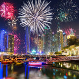 New Year fireworks display in Dubai Stock Photos