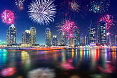 New Year fireworks display in Dubai Stock Image