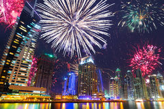 New Year fireworks display in Dubai Royalty Free Stock Images