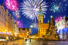 New Year fireworks display in Gdansk. Poland Royalty Free Stock Photography