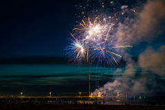 New Year fireworks. Display at Glenelg beach, South Australia stock photos