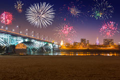 New Year fireworks display in Warsaw Royalty Free Stock Image