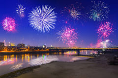 New Year fireworks display in Warsaw Stock Images