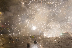 2015 New Year fireworks, explosion and celebrations at the Wenceslas square, Prague Royalty Free Stock Image