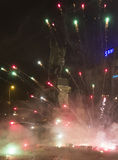 2015 New Year fireworks,explosions and celebrations at the Wenceslas square, Prague Royalty Free Stock Photos