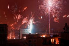 New year fireworks. Fireworks until new year's eve in the city of Cologne, Germany Stock Photos