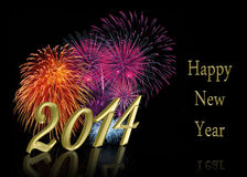 New Year 2014 Fireworks Royalty Free Stock Photography