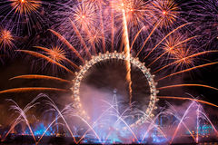 New Year Fireworks. The image was shot at London Eye on 31 Dec 2015 as part of New Year Eve Fireworks. The sky was lit up with different kinds of fireworks Stock Photography