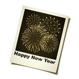 New year fireworks instant photo Royalty Free Stock Photo
