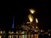 Eureka Skydeck New Year 2018 Fireworks. The New Year 2018 fireworks just enhanced the beauty of the Eureka Skydeck Stock Photos