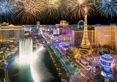 New Year fireworks on Las Vegas Strip. On January 1, 2018 in Las Vegas, USA. The Strip is home to the largest hotels and casinos in the world royalty free stock photo