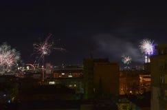 New Year fireworks. At Stara Zagora city Royalty Free Stock Image