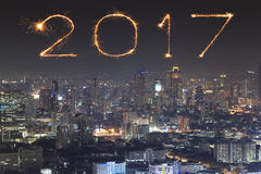 2017 New Year Fireworks over Bangkok cityscape at night, Thailan Stock Photography