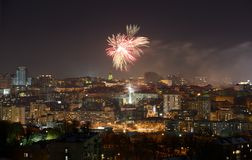New Year fireworks over Kiev Stock Photography