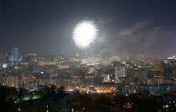New Year fireworks over Kiev Royalty Free Stock Images