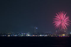 New Year Fireworks over Patong City Stock Photography