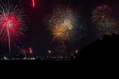 New Year Fireworks over Patong City Royalty Free Stock Photography