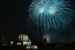 New Year fireworks over Prague, Czech Republic. Royalty Free Stock Photography
