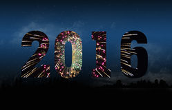 New Year 2016 fireworks Stock Photos