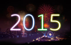 New Year 2015 with Fireworks Party. Royalty Free Stock Photos