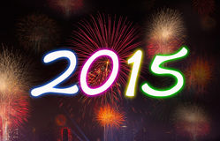 New Year 2015 with Fireworks Party. Royalty Free Stock Photography