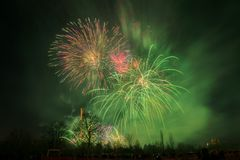 New Year 2018, Fireworks in Prague, Czech Republic. Stock Photo