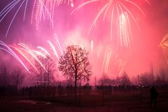 New Year 2018, Fireworks in Prague, Czech Republic. Royalty Free Stock Photography
