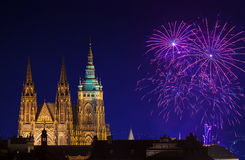 New Year fireworks in Prague Royalty Free Stock Images