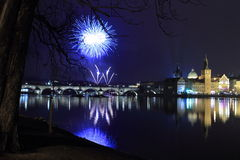 New Year fireworks in Prague Stock Photos