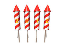 New Year fireworks rockets. Isolated on the white. Background Stock Photography