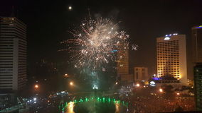 New year. Fireworks rooftop buildings newyear central jakarta Royalty Free Stock Photography