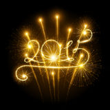 New Year 2015 fireworks. New Year's fireworks and confetti 2015. Vector illustration royalty free illustration