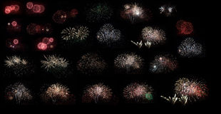 New year fireworks set on black background Royalty Free Stock Images