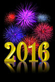New Year 2016 Fireworks. Shining golden 3D text New Year 2015 on black background with real fireworks for New Years eve party invitation graphic or greeting card Stock Photo