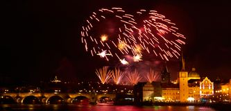 2019 New Year Firework Show over Prague royalty free stock photo