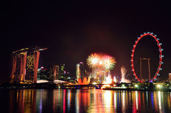 New Year Fireworks on Singapore skyline Royalty Free Stock Photo